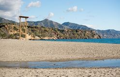 布里亚纳沙滩和蓝色海洋 免版税库存照片