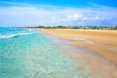 布里亚纳海滩在西班牙的卡斯特利翁省 免版税库存照片