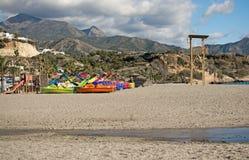 布里亚纳海滩玩具和山 库存图片