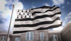 布里坦尼在蓝天大厦背景的旗子3D翻译 免版税图库摄影