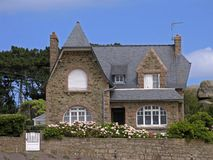 布里坦尼法国住宅房子的ploumanach 图库摄影