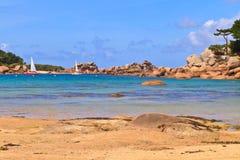 布里坦尼coast cote de granite上升了 免版税库存照片