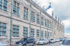 布里季敦,巴巴多斯- 2014年3月10日:布里季敦大厦建筑学在巴巴多斯 加勒比海海岛 免版税图库摄影