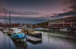 布里斯托尔港口晚上 库存图片