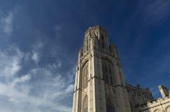 布里斯托尔,英国,2019年2月21日,在布里斯托大学的威尔斯纪念大楼塔 免版税图库摄影