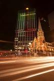 布里斯班,澳大利亚- 2014年10月25日, :在G20会议的布里斯班市上色城市,视觉轻的显示 库存图片