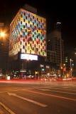 布里斯班,澳大利亚- 2014年10月25日, :在G20会议的布里斯班市上色城市,视觉轻的显示 图库摄影