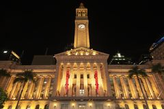 布里斯班, AUS - 2018年4月28日:布里斯班香港大会堂在晚上 库存照片