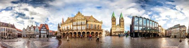布里曼主要集市广场,德国地平线  免版税库存照片