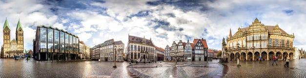 布里曼主要集市广场,德国地平线  库存照片