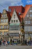布里曼,德国,有雕象的集市广场 库存照片