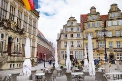 布里曼,德国- 2016年3月23日:房子历史的门面集市广场的 免版税库存照片