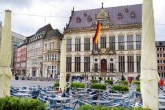布里曼,德国- 2016年3月23日:房子历史的门面集市广场的 库存图片