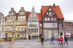 布里曼,德国- 2016年3月23日:房子历史的门面集市广场的 免版税图库摄影