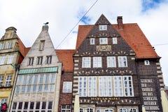 布里曼,德国- 2016年3月23日:房子历史的门面集市广场的 库存照片
