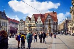 布里曼,德国- 2016年3月23日:房子历史的门面集市广场的 免版税库存图片