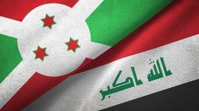布隆迪和伊拉克两旗子纺织品布料 库存例证