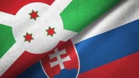 布隆迪和斯洛伐克两旗子纺织品布料,织品纹理 库存例证