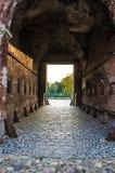 从布雷斯特堡垒门的看法对英雄战士的 库存照片