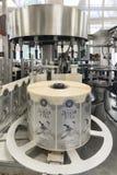 布雷斯特槽坊 适用于的标签一个机器瓶 图库摄影
