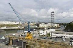 布雷斯特,河Penfeld,法国 免版税库存图片