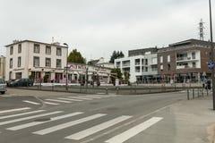 布雷斯特,法国2018年5月28日街道大厦汽车商店 免版税库存照片