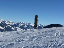 布雷萨诺内Im Thale -滑雪有看法 库存图片