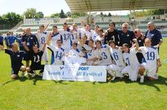 布雷西亚比赛kaposvar足球青年时期 免版税图库摄影