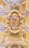 布雷西亚,意大利, 2016年:与圣父的天花板壁画在教会基耶萨di圣乔治里 库存照片