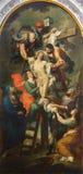 布雷西亚,意大利, 2016年:十字架的证言绘画在教会基耶萨二圣玛丽亚della步幅的多梅尼科Zeli 免版税库存照片