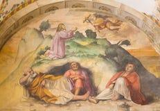 布雷西亚,意大利, 2016年:在Gethsemane庭院壁画的耶稣祷告教会基耶萨di由Romanino学校的圣朱塞佩 库存图片