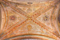 布雷西亚,意大利, 2016年:从13的哥特式天花板壁画 分 象征性四Evangeslists在中央寺院Vecchio 库存图片