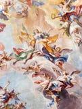 布雷西亚,意大利:圣诞老人Eufemia壁画荣耀在Sant阿弗拉教会长老会的管辖区穹顶的  图库摄影