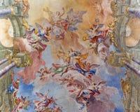 布雷西亚,意大利:圣诞老人Eufemia壁画荣耀在Sant阿弗拉教会长老会的管辖区穹顶的  库存照片