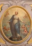 布雷西亚,意大利- 2016年5月21日:圣母无染原罪瞻礼绘画教会基耶萨二圣玛丽亚della的Carita 免版税库存照片