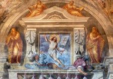 布雷西亚- Resurrected基督壁画在教会基耶萨二圣玛丽亚del Carmine的 免版税库存图片