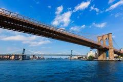 布鲁克林和曼哈顿桥梁East河NY 库存图片