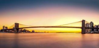 布鲁克林大桥全景 图库摄影