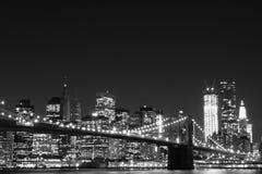布鲁克林大桥和曼哈顿地平线 免版税图库摄影