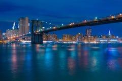布鲁克林大桥和曼哈顿的夜堤防 库存照片