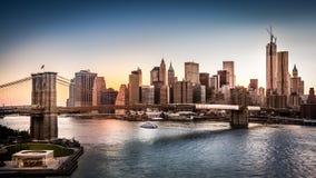 布鲁克林大桥和更低的曼哈顿 免版税库存图片