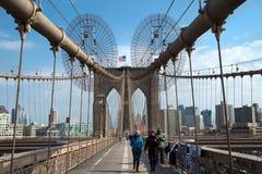 布鲁克林大桥在乌贼属的纽约 库存照片