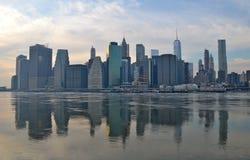 布鲁克林大桥在冬天, NYC 免版税库存照片