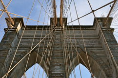 布鲁克林大桥在冬天, NYC 图库摄影
