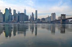 布鲁克林大桥在冬天, NYC 免版税库存图片