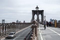布鲁克林大桥在纽约美利坚合众国 免版税图库摄影