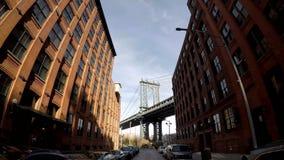 布鲁克林大桥在Hyperlapse 4K之外的曼哈顿大桥移动式摄影车 影视素材
