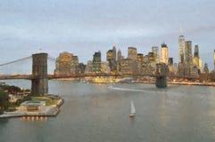 布鲁克林大桥晚上 库存照片