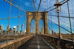 布鲁克林大桥的安装托梁 免版税库存照片