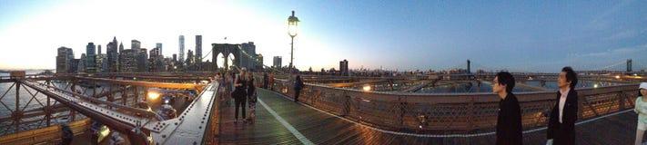 布鲁克林大桥纽约日落 图库摄影